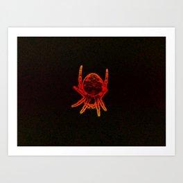 Neon orange spider Art Print