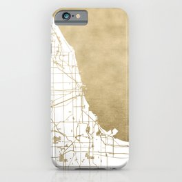 Chicago Gold and White Map iPhone Case