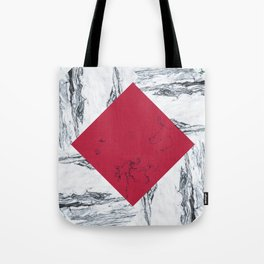 Red + Marble Tote Bag
