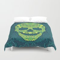sugar skull Duvet Covers featuring Sugar skull by Julia Badeeva