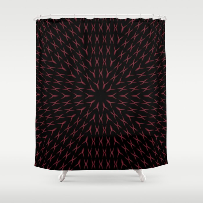 PCT2 Fractal in Red and Black Shower Curtain
