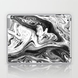 Mishiko - spilled ink abstract marble painting black and white minimal modern marbled paper water  Laptop & iPad Skin