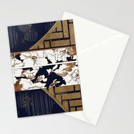 Navy and Gold Herringbone Peony Obi Print Stationery Cards