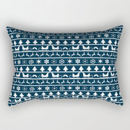 Midnight Blue & White Christmas Sweater Knit Pattern Rectangular Pillow