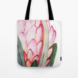 Pink large protea, botanical illustration Tote Bag