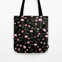 Peonies on Black Tote Bag