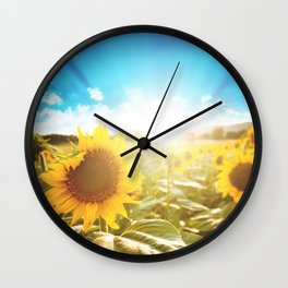 sunflower field Wall Clock