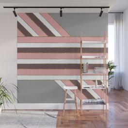Pretty & Girly Faux Glitter and Stripes Pattern Wall Mural