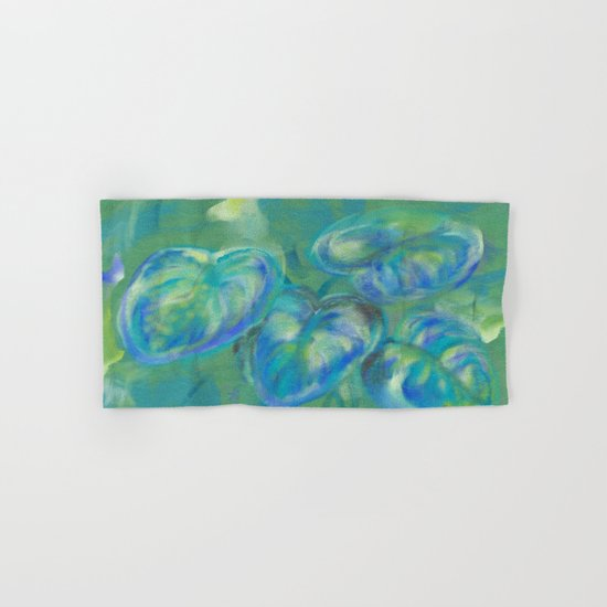 Green and White Spring Leaves Hand & Bath Towel