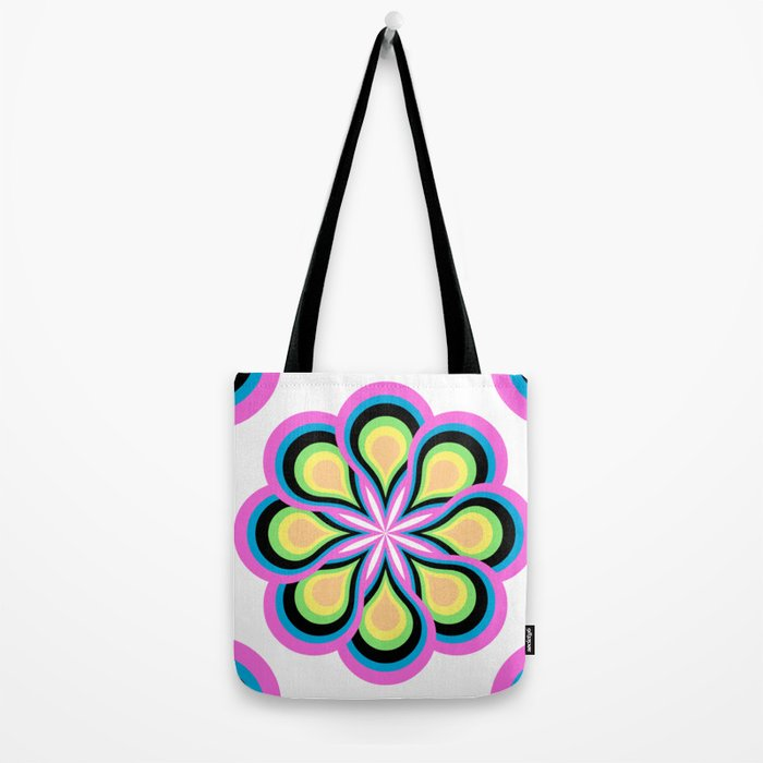 Colorful Feathers Mandala Tote Bag