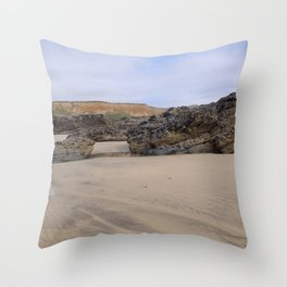 Godrecy Beach Cornwall Engand Throw Pillow