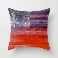 flag Throw Pillows featuring Flag by DAVID BIRKBECK