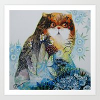 fairy Art Prints featuring Fairy - Cat by oxana zaika