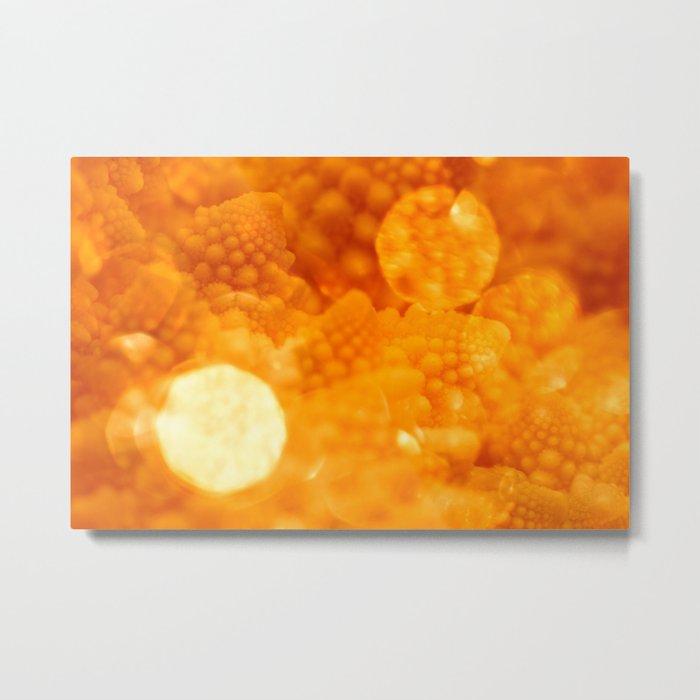Macro Romanesco Broccoli - Bokeh Gold Metal Print