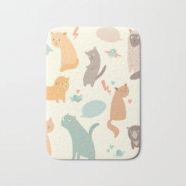 Cute cats, vintage color, vector illustrations, poster, arts Bath Mat