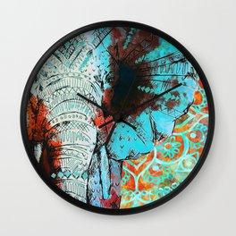 Indian Sketch Elephant Blue Orange Wall Clock
