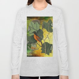 Baltimore Oriole on Tulip Tree, Vintage Natural History and Botanical Long Sleeve T-shirt