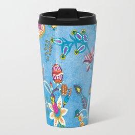 Blue Lapis Velvet Texture Chintz Multicolour Bohemian Floral Pattern Travel Mug