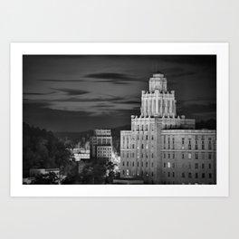 Hot Springs Arkansas Skyline and Old Army Navy Hospital in Monochrome Art Print