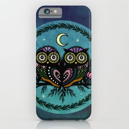 A Perfect Pair Of Midnight Moonlit Owls iPhone Case
