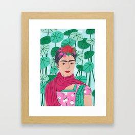 Frida Kahlo Portrait Illustration Framed Art Print