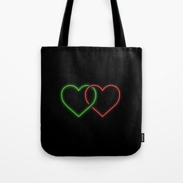 Intertwined Neon Love Hearts Green and Red Tote Bag