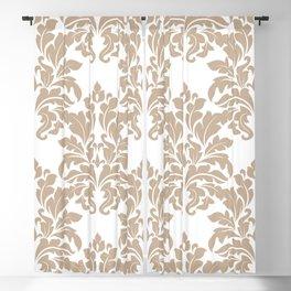 Beige and White Vintage Floral Damask Brocade Pattern Blackout Curtain