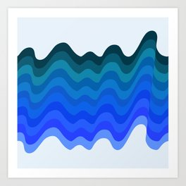 Retro Ripple Sea Wave Art Print