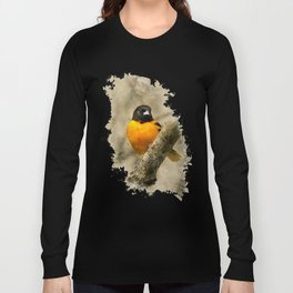 Baltimore Oriole Watercolor Painting Long Sleeve T-shirt