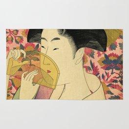 Japanese Art Print - Japanese Woman - Kushi Utamaro Rug