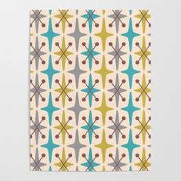 Mid Century Modern Abstract Star Pattern 441 Gray Brown Turquoise Olive Green Poster