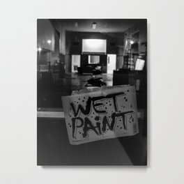 Wet Paint Black and White Metal Print