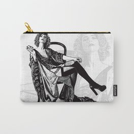 Retro Woman Wearing Vintage Lingerie and Drinking from Flask Carry-All Pouch