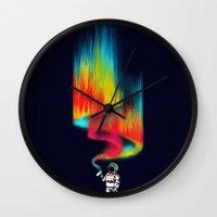 budi Wall Clocks featuring Space vandal by Picomodi