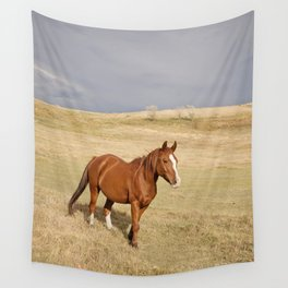 Horse in Stormy Landscape Photograph Wall Tapestry