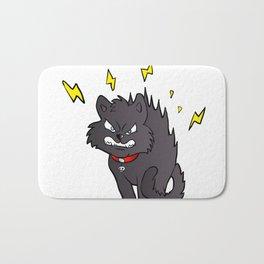 cartoon scared black cat Bath Mat