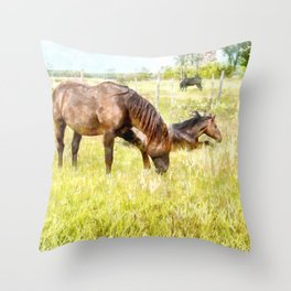 Horses Grazing in the Field.  Watercolor Painting Style. Throw Pillow