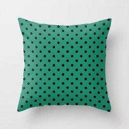 Large Black Polka Dots on  Elf Green Throw Pillow