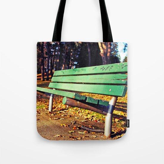 Autumn park bench Tote Bag