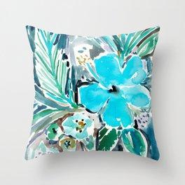 BLUE HAWAII HIBISCUS Throw Pillow