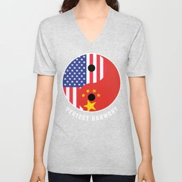 USA China Ying Yang Heritage for Proud Chinese American, Biracial American Roots, Culture, Unisex V-Neck