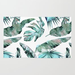 Tropical Palm Leaves Blue Green on White Rug