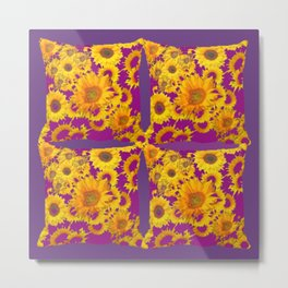 Puce-Purple  Color Golden Sunflowers Pattern Art Metal Print