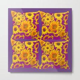 Puce-Purple  Color Golden Sunflowers Pattern Art Metal Print