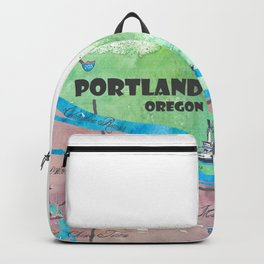 Portland Oregon Travel Poster Map with Touristic Highlights Backpack