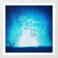 Cosmo + Celeste ( Colorful Cosmological Night Sky Couple in Love ) Art Print