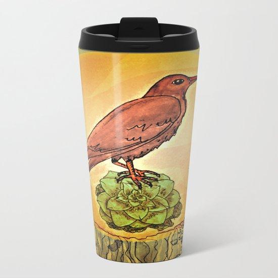 NATURE / BIRD and SUCCULENT Metal Travel Mug