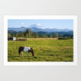Paint Horse and Mount Rainier Art Print