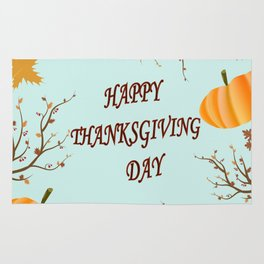 Happy Thanksgiving day postcard Rug