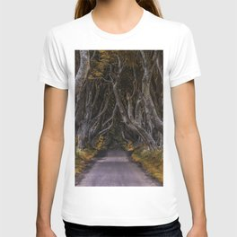 Dark Hedges alley on a sunny day T-shirt